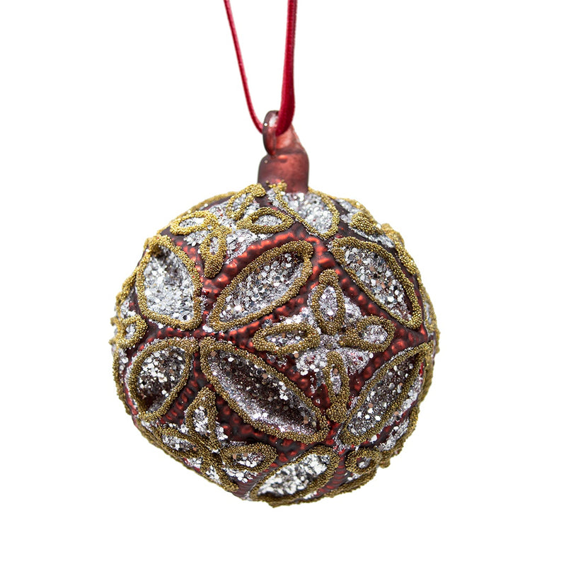 Jewelled Red Glass Bauble Red, Gold & Silver
