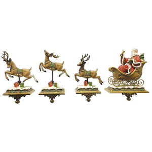 Set of 4 Luxury Santa Claus & Reindeer Stocking Hangers