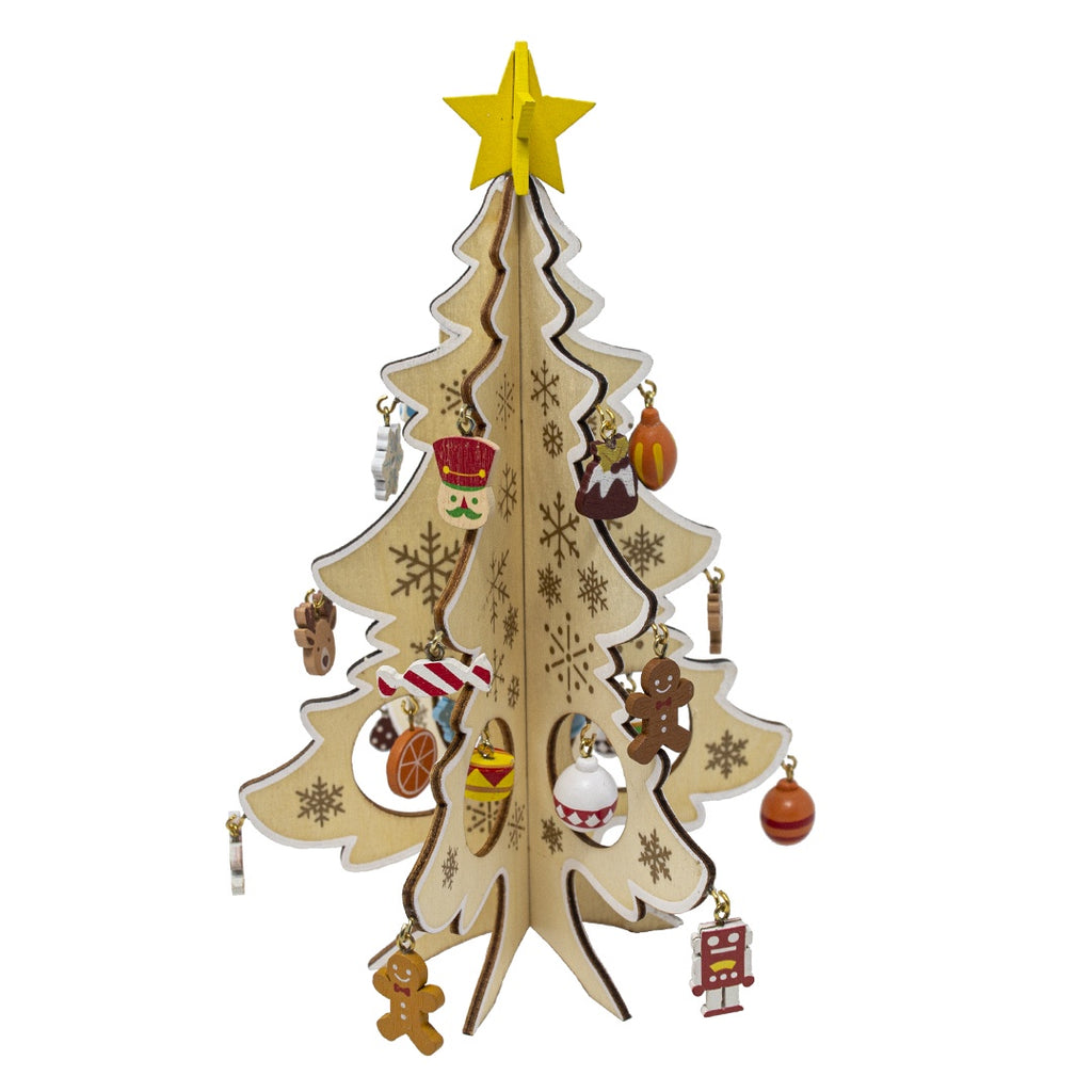 Wooden Gingerbread Christmas Tree with Mini Decorations