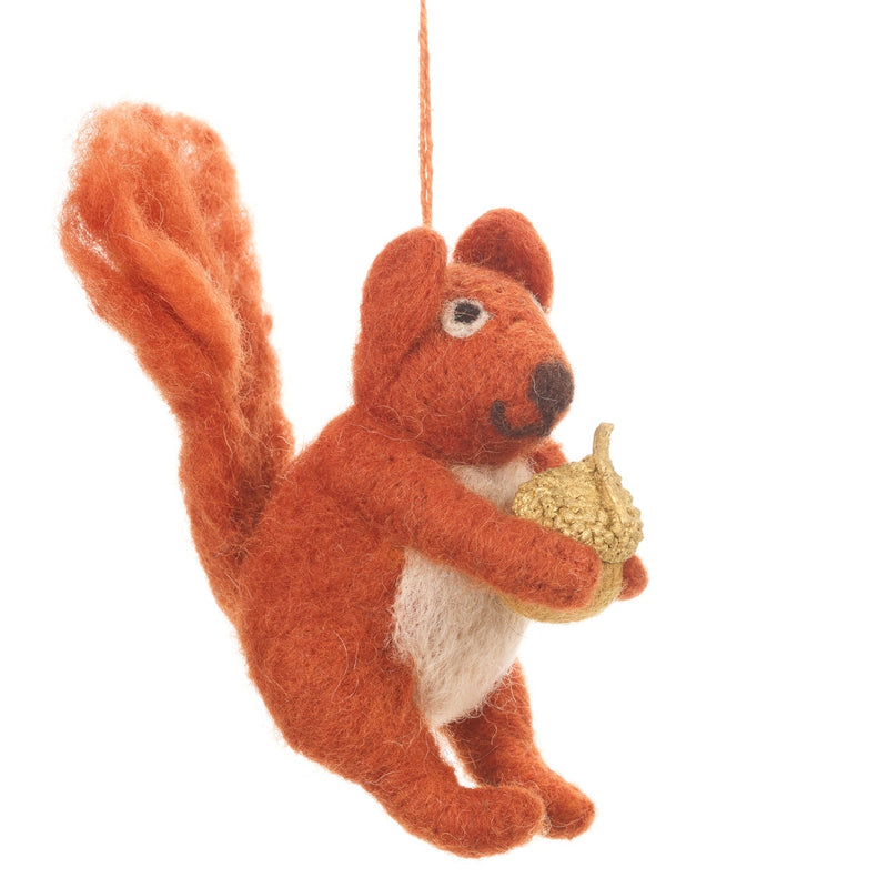 Felt Red Squirrel with Acorn Christmas Tree Decoration