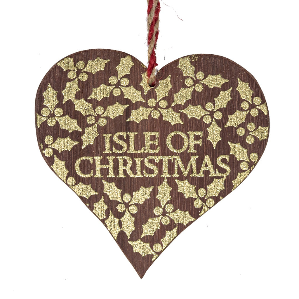 Ryde Pier Wood Heart Christmas Tree Decoration