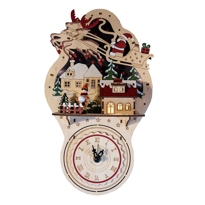 Light Up Wooden Christmas Clock