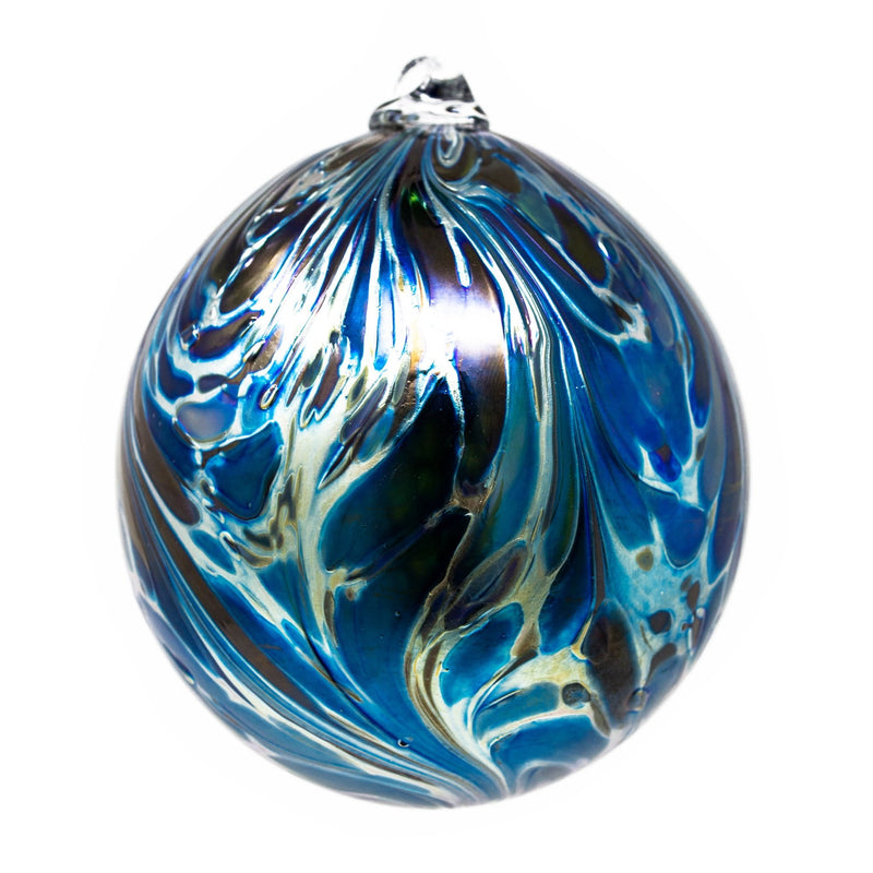 Isle of Wight Studio Glass - Northern Lights Blue Balthazar Christmas Bauble