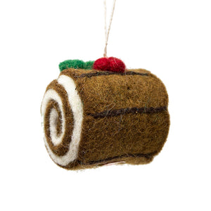 Felt Christmas Yule Log Christmas Tree Decoration
