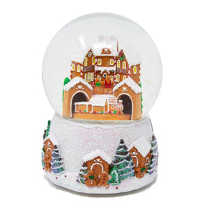 Gingerbread Snow Globe with Moving Train