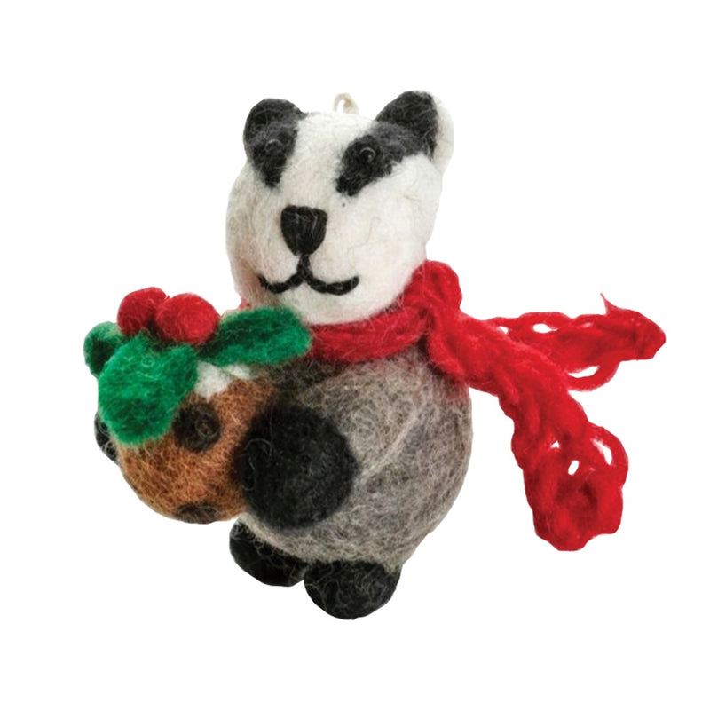 Felt Badger Christmas Tree Decoration