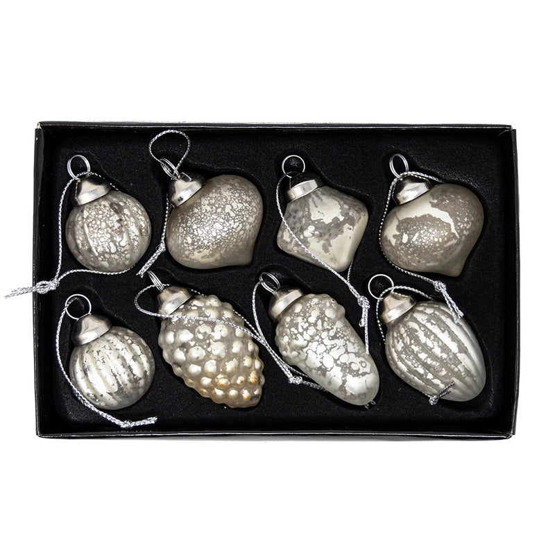 Set of 8 Mercury Glass Christmas Tree Decorations
