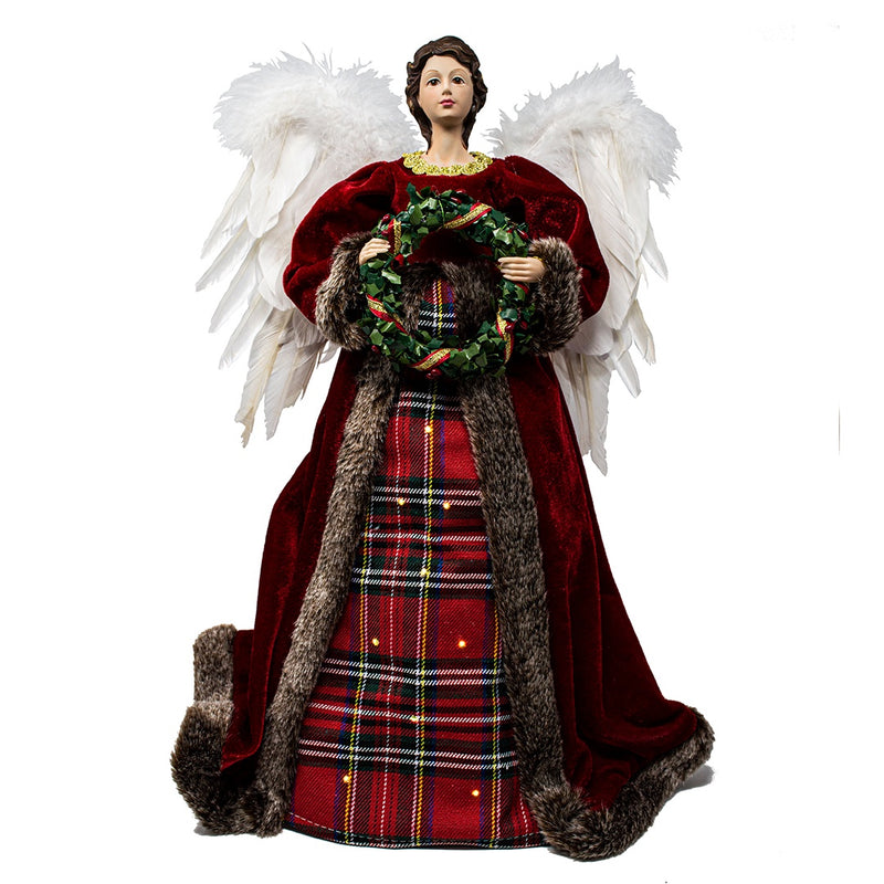 Light Up Tartan Angel Tree Topper