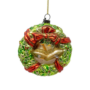 Glass Christmas Wreath Tree Decoration