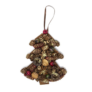 Handmade Natural Red & Green Tree Christmas Tree Decoration