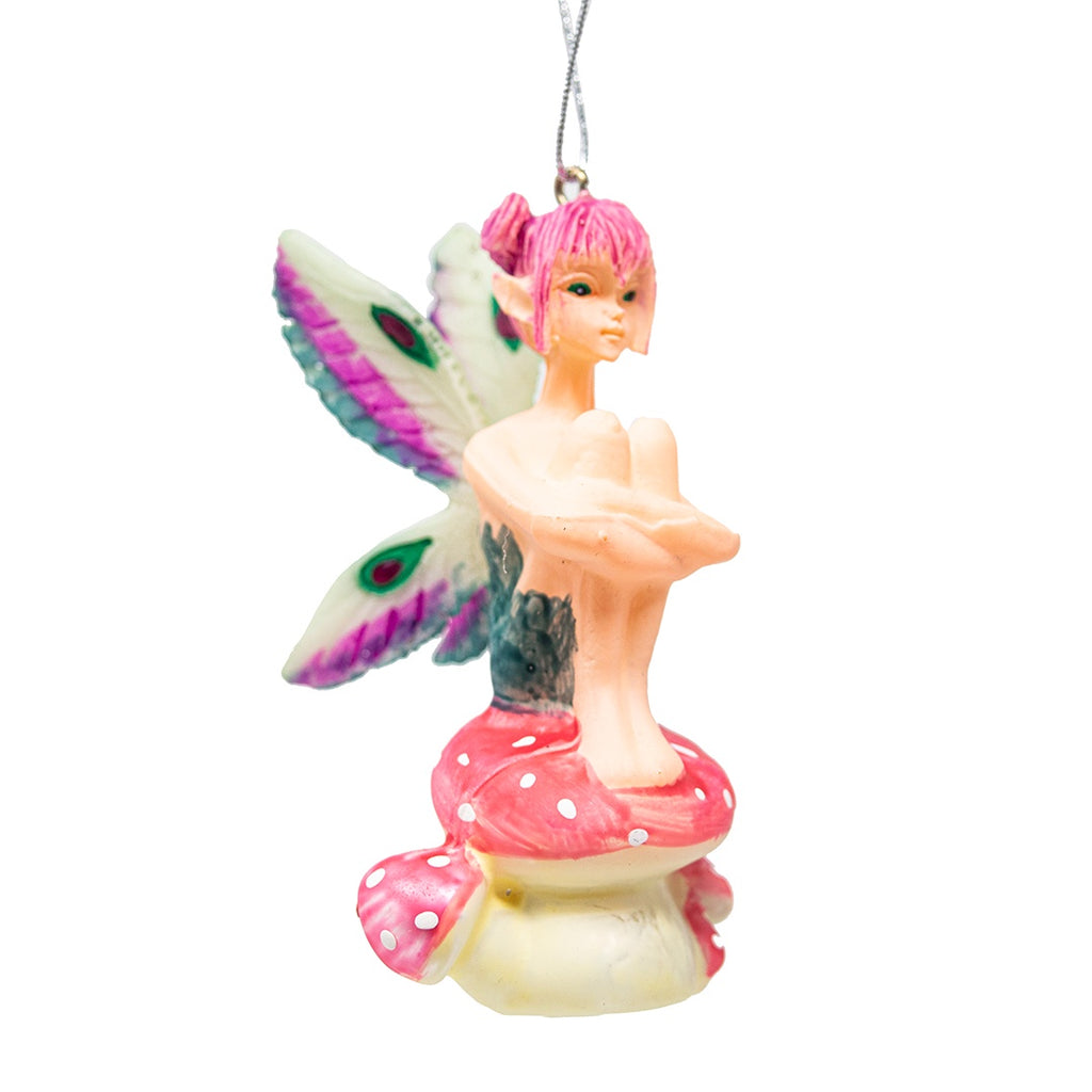 Glass Fairy on Toadstool Christmas Tree Decoration