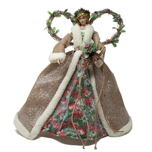 Natural Angel Tree Topper with Natural Dress - 43cm