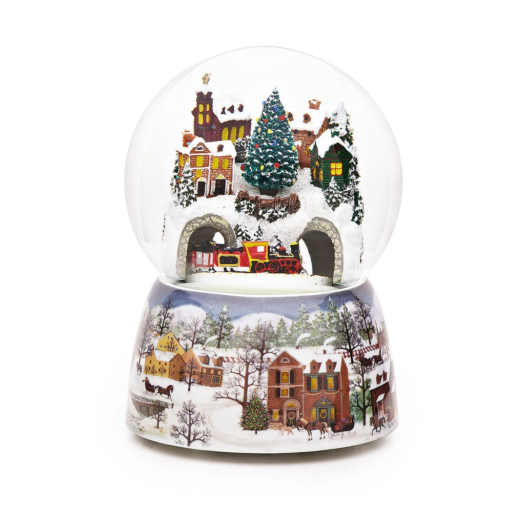 LARGE Train & Snowy Village Christmas Snow Globe (Moving & Musical)