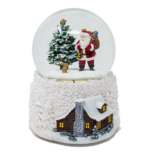 Santa and Cabin Musical / Light Up Snow Globe