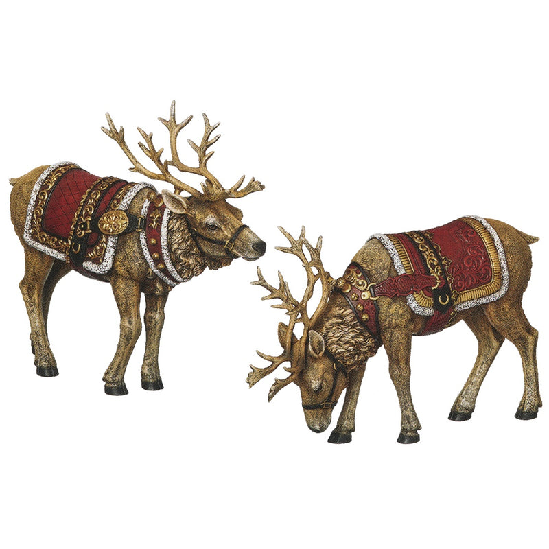 Large Pair of Red & Gold Reindeer (30cm)