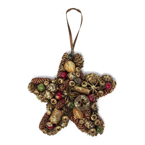 Handmade Natural Red & Green Star Christmas Tree Decoration