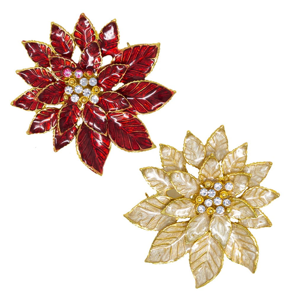 Poinsettia Christmas Brooch