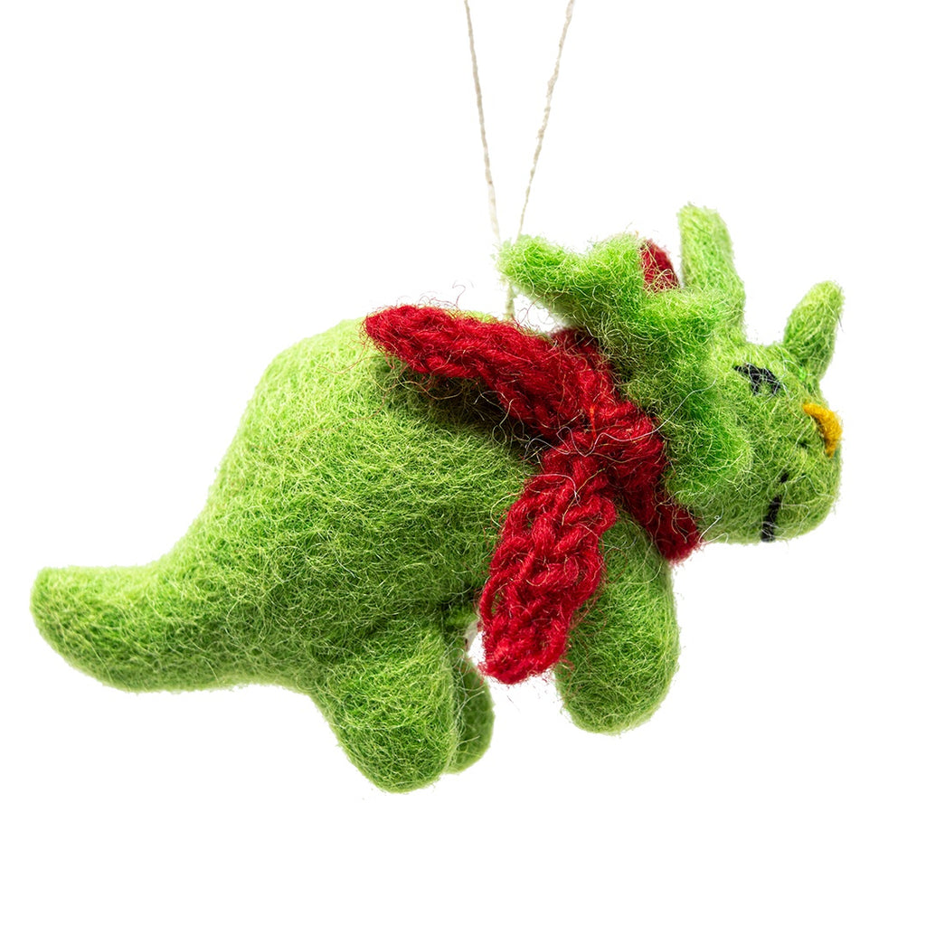 Felt Triceratops Dinosaur Christmas Tree Decoration