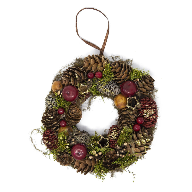 Handmade Natural Red & Green Wreath Christmas Tree Decoration