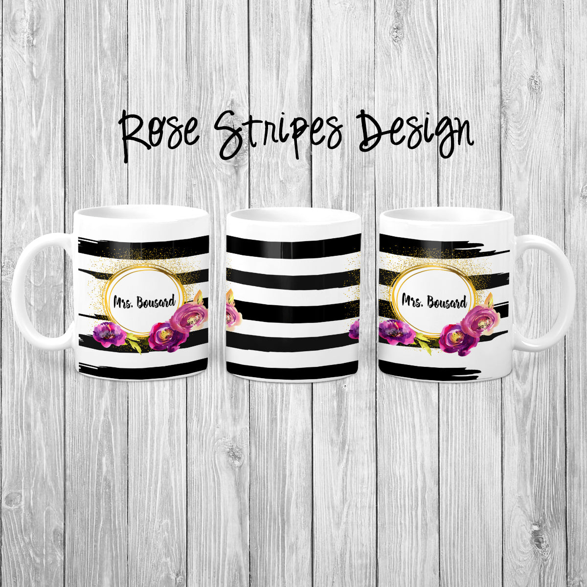 Rose Stripes Personalized Coffee Cups