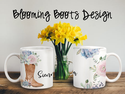 Blooming Boots Personalized Coffee Cups