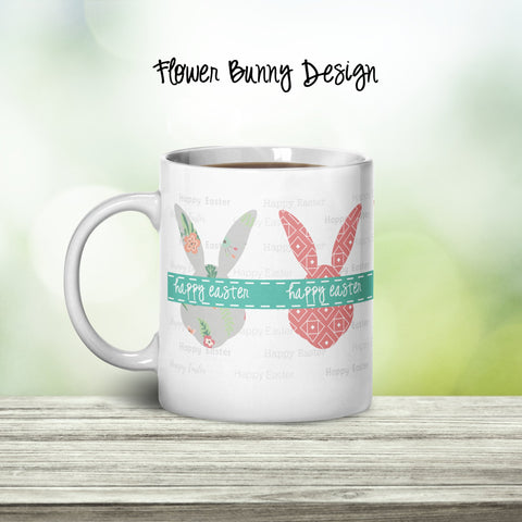 Flower Bunny Personalized Coffee Cups