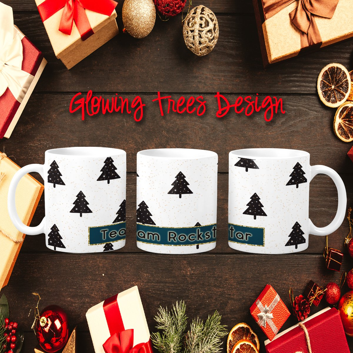 Glowing Trees Holiday Personalized Coffee Cups