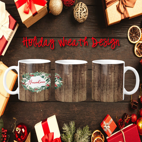 Holiday Wreath Personalized Coffee Cups