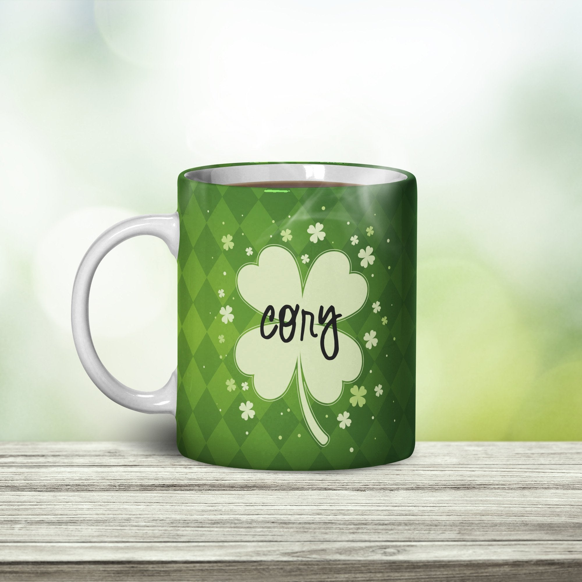 Lucky Clover Personalized Coffee Cups