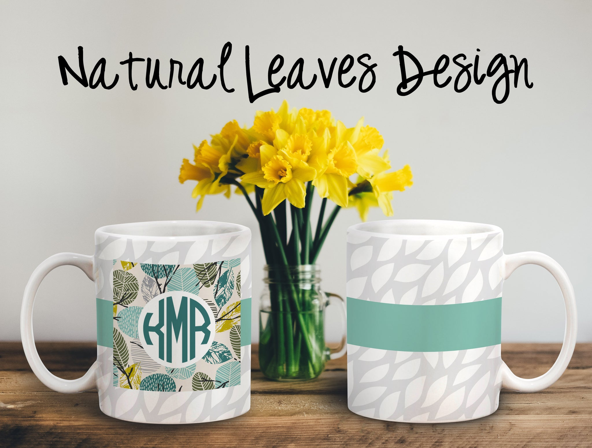 Natural Leaves Personalized Coffee Cups
