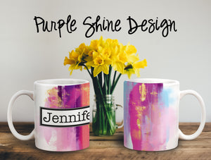 Purple Shine Personalized Coffee Cups