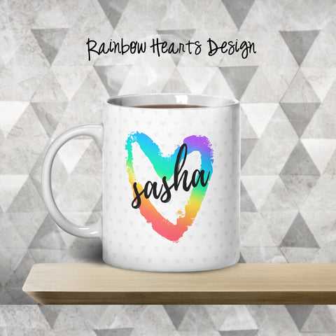 Rainbow Hearts Personalized Coffee Cups