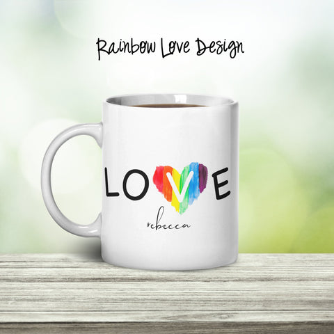 Rainbow Love Personalized Coffee Cups