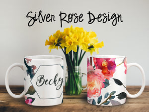 Silver Rose Personalized Coffee Cups