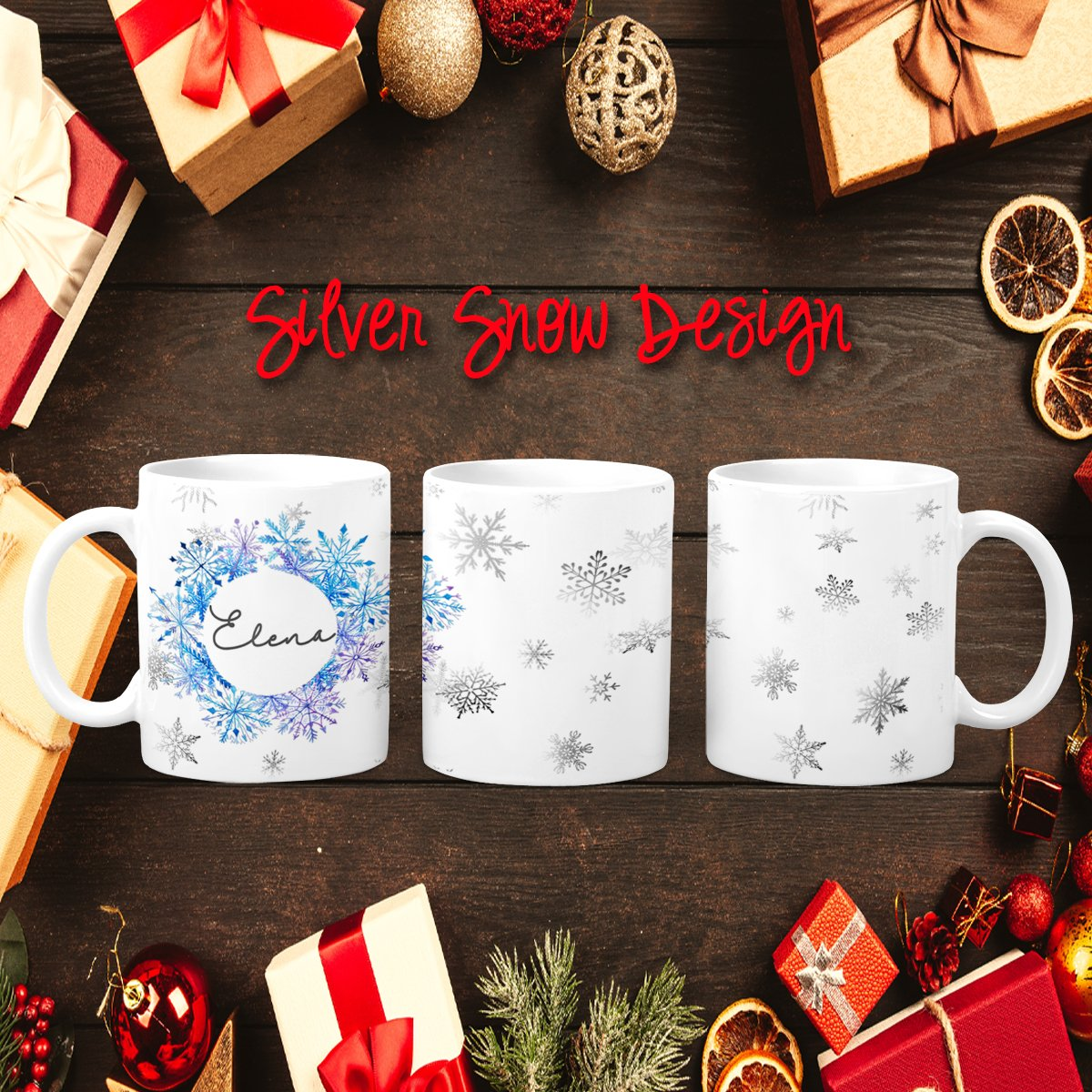 Holiday Silver Snow Personalized Coffee Cups