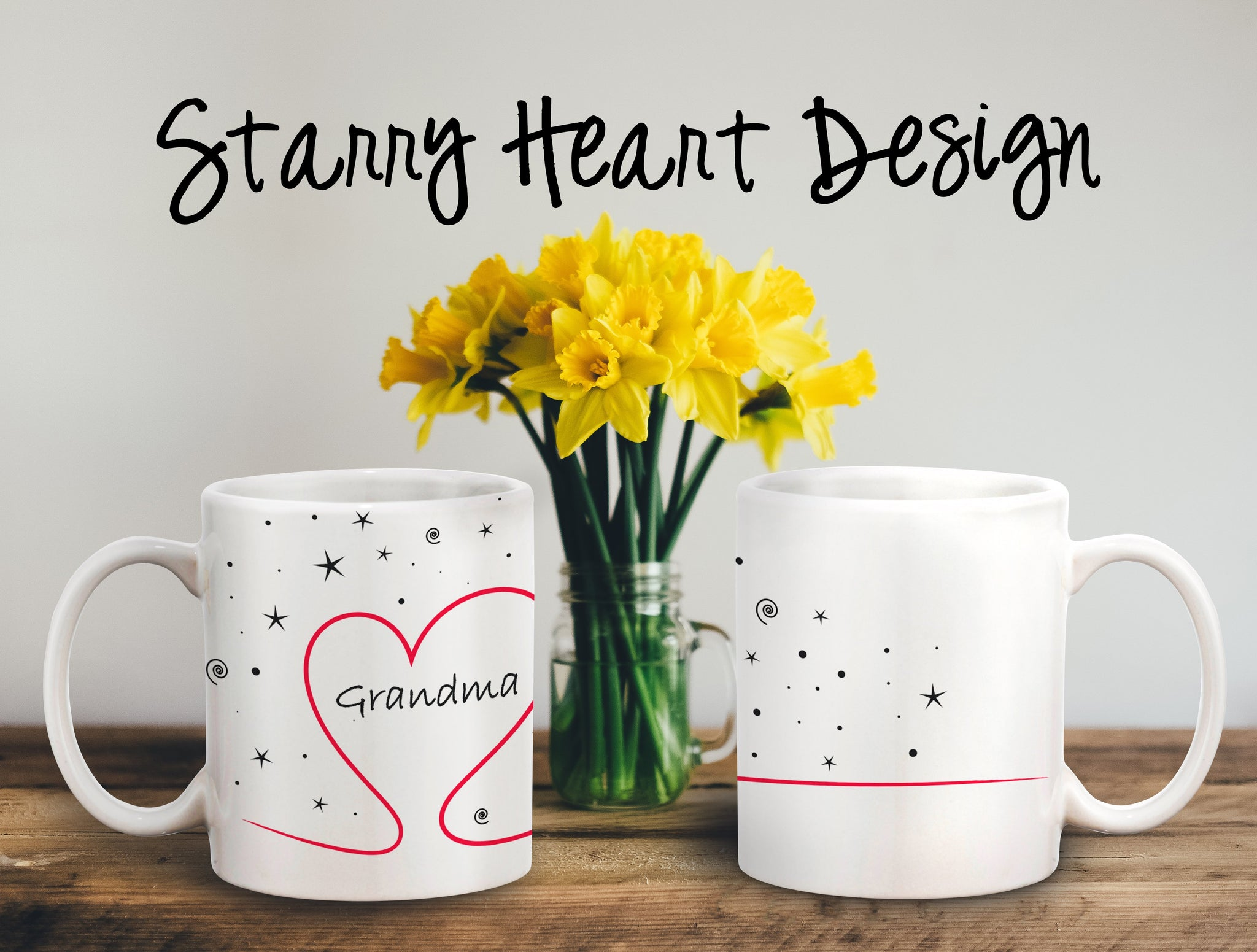Starry Heart Personalized Coffee Cups