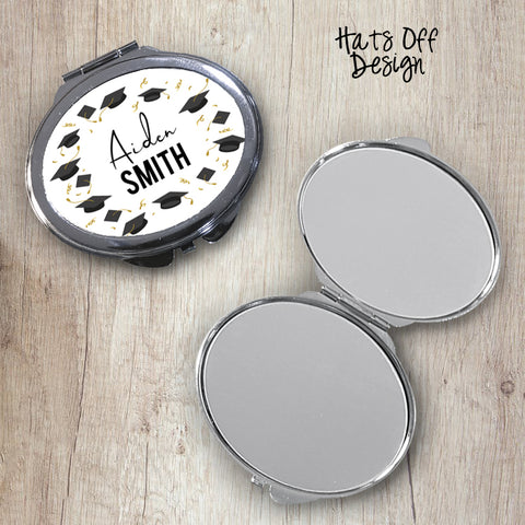 Hats Off Oval Compact Mirror
