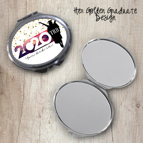 Her Golden Graduate Oval Compact Mirror