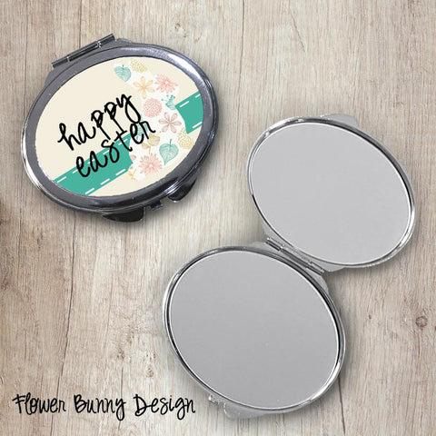 Flower Bunny Oval Compact Mirror