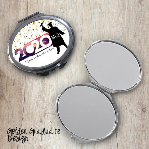 Golden Graduate Oval Compact Mirror