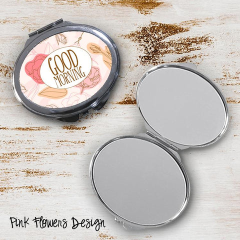 Pink Flowers Oval Compact Mirror