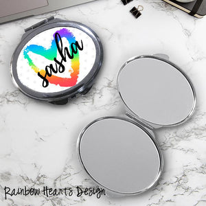 Rainbow Hearts Oval Compact Mirror