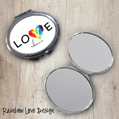 Rainbow Love Oval Compact Mirror