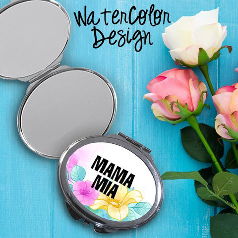 Watercolor Oval Compact Mirror