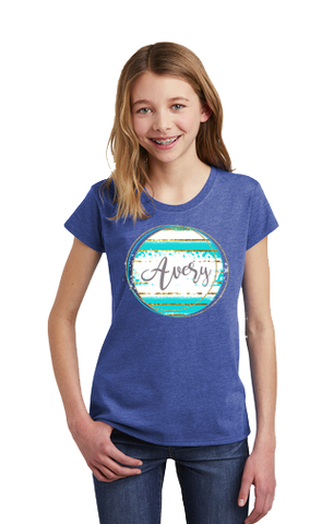 Youth Personalized Aqua Gold Shirt