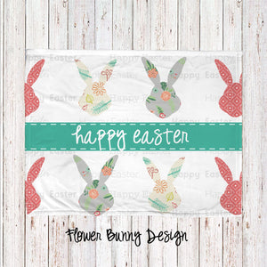 Flower Bunny Personalized Super Soft Blanket