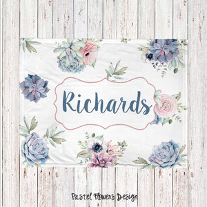 Pastel Flowers Personalized Super Soft Blanket