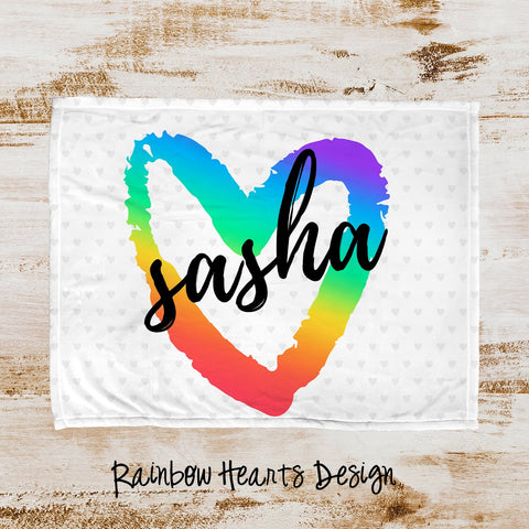Rainbow Hearts Personalized Super Soft Blanket