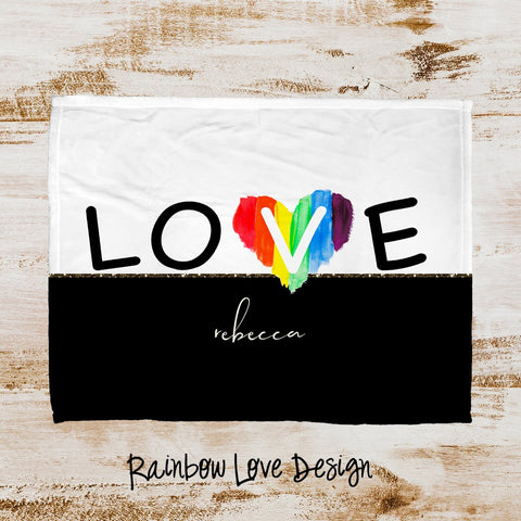 Rainbow Love Personalized Super Soft Blanket