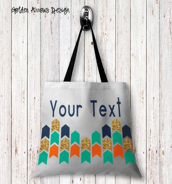 Golden Arrows Personalized Tote Bags - 3 Sizes to Choose From